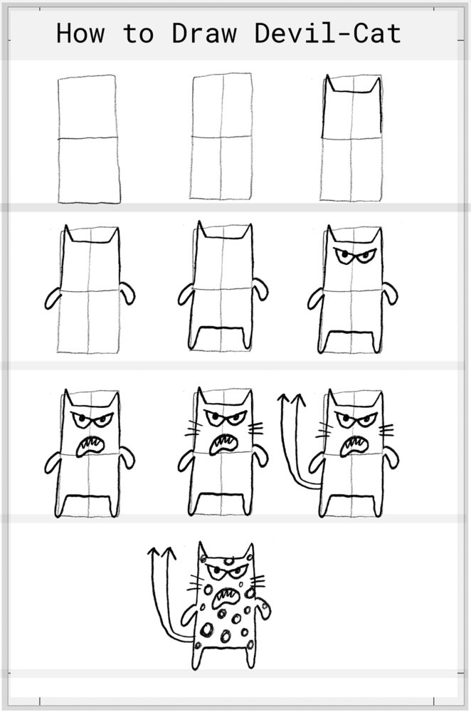 How to Draw Devil Cat